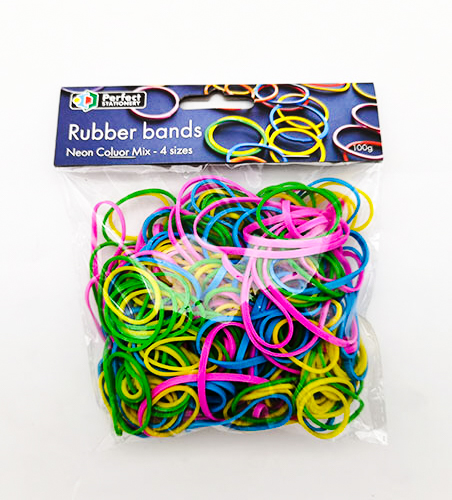 Rubber Bands Green Size 28L = 42 x 3mm Pk-100 Coloured Office Stationery